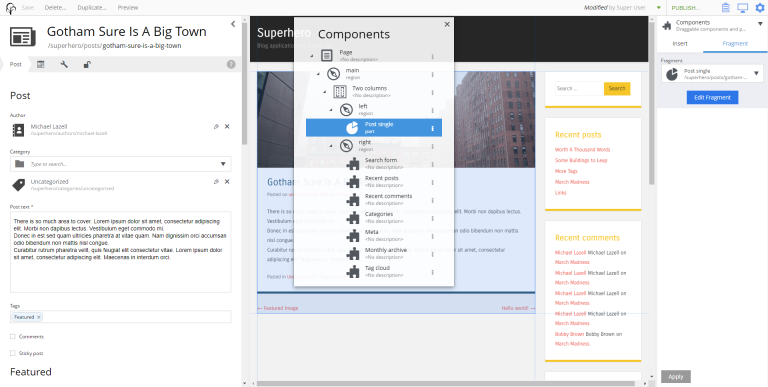 page editor components view