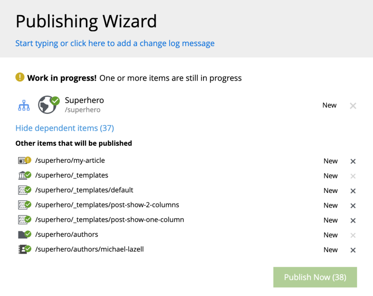 Content in progress in the Publishing Wizard