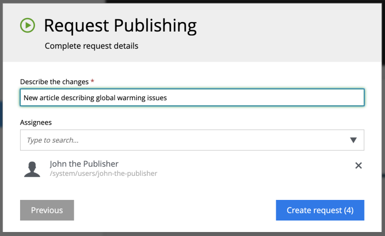 Request Publishing Wizard - Step 2