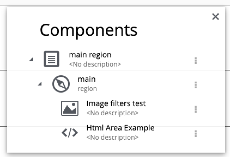 Page Components tree