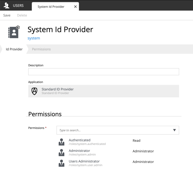 Setting up an ID provider from the Users admin tool