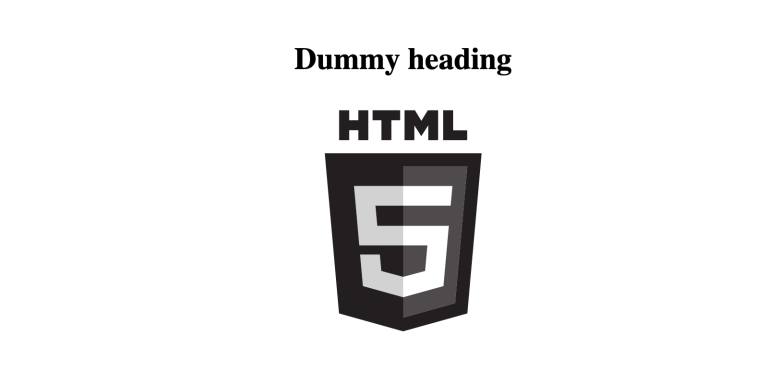 Screenshot of template showing dummy heading and html5 logo