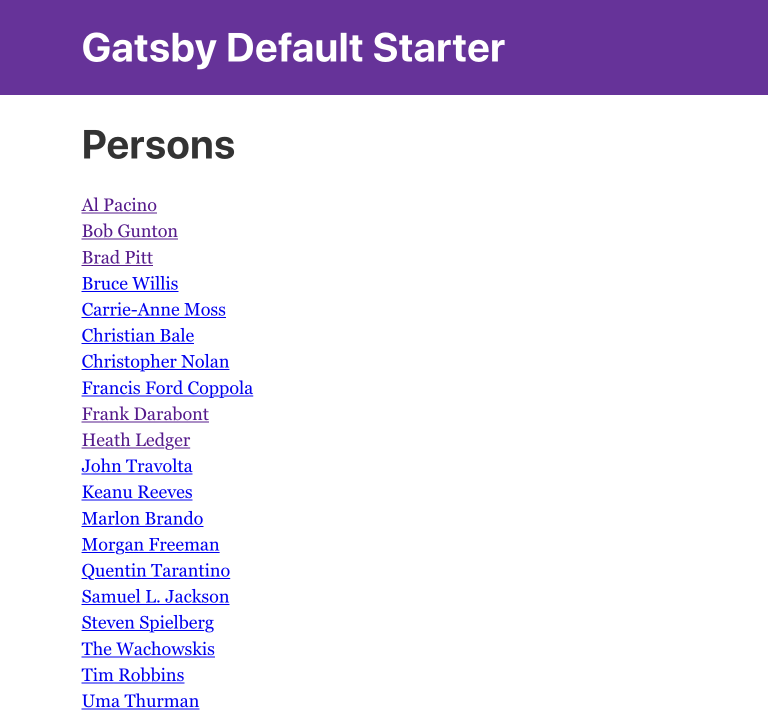 Person list with links to the details pages