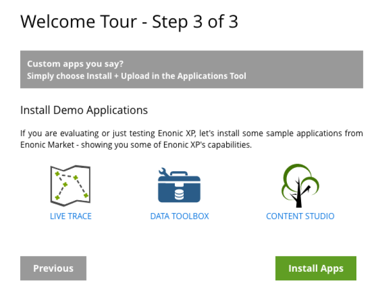 Image showing the last step of XP tour - Install apps