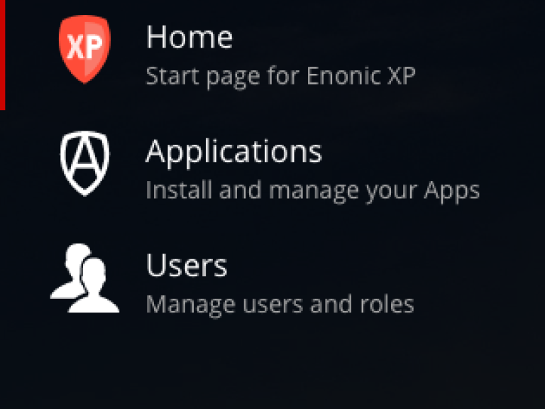 Screenshot of the main menu for Enonic XP